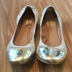 Coach Dalia Gold Metallic Leather Ballet Flats 7
